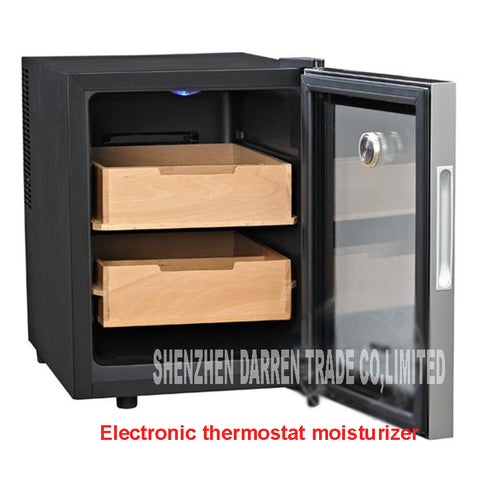 Thermostatic Humidification, Automated Temperature Two Shelf Cigar Humidor