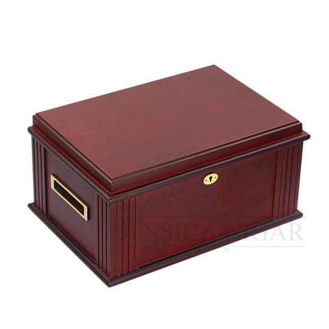 Luxury Red Cedar Wooden Humidor with Holder With Built-in Hygrometer Humidifier Gild Lock Wood Tray