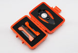 Orange Travel Cigar Box With Sharp Cigar Cutter /Scissors and Fashion Lighter, Portable Cigar Case