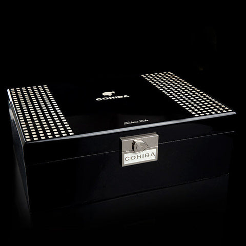 Cohiba Black Gloss Checkerboard Cigar Humidor with Humidifier Hygrometer