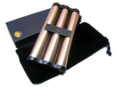 COHIBA metal portable three cigar Holder Pack with Moisture Humidifier