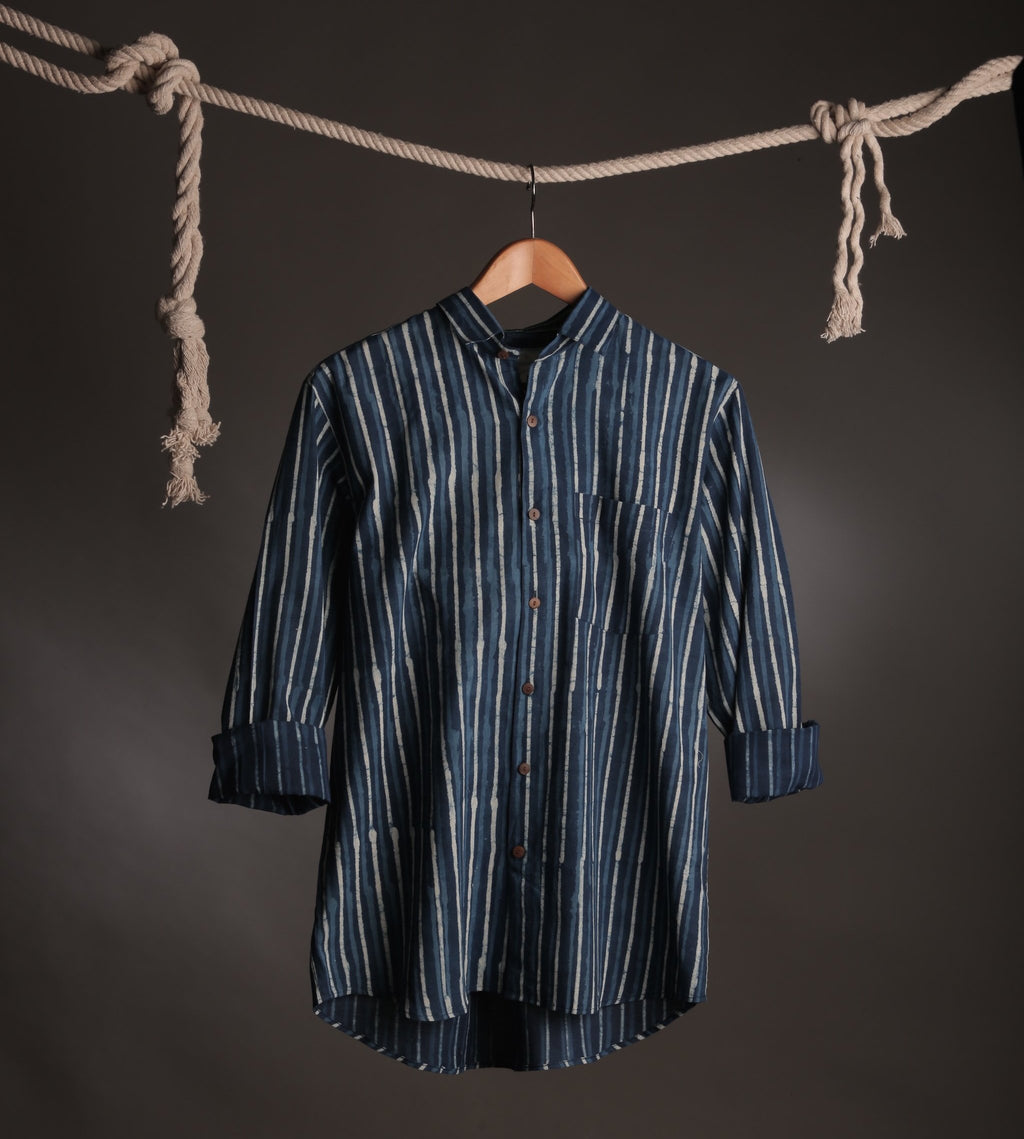 Striped Indigo Handblock Shirt Size XL/42