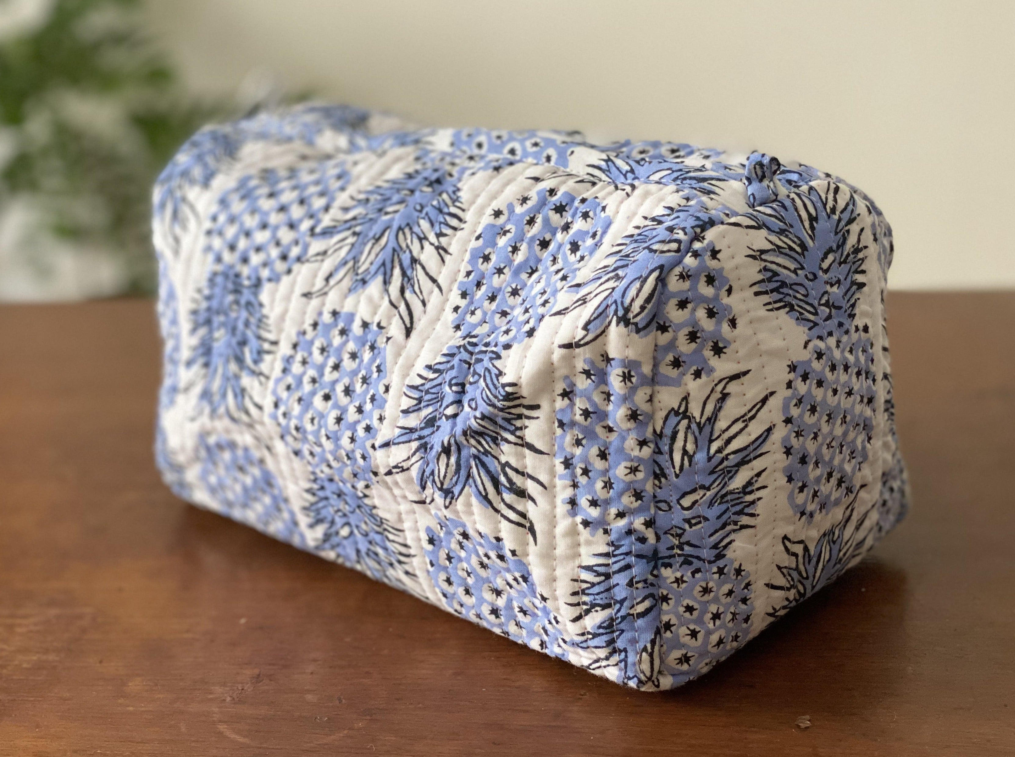Pineapple Print Handblock Quilted Pouch