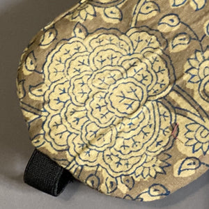 Brown Handblock Eye Mask with Cover