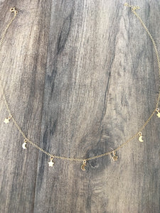 Star and crecent moon gold charm necklace