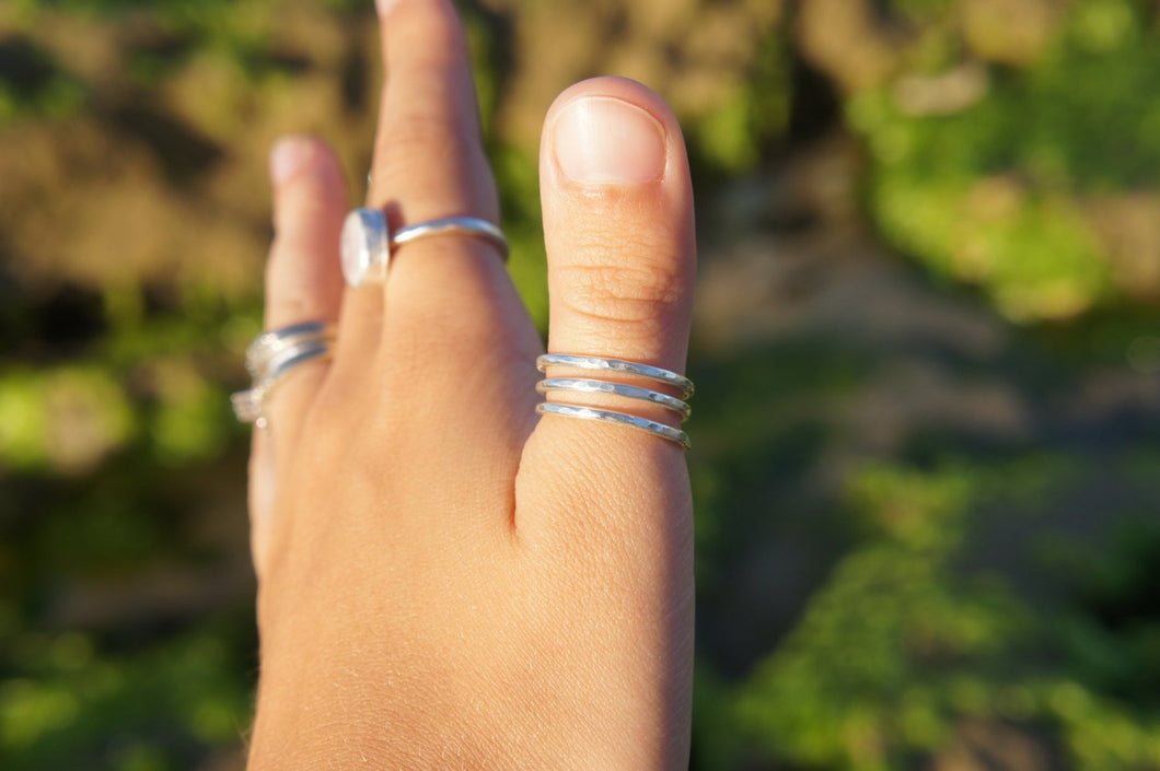 Sterling silver, hammered, spiral ring, open stacking ring, triple wrap ring, wrap around ring