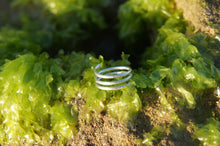 Load image into Gallery viewer, Sterling silver, hammered, spiral ring, open stacking ring, triple wrap ring, wrap around ring