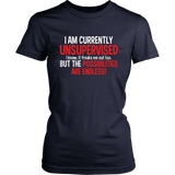 I Am Currently Unsupervised Adult Humor Novelty Graphic Sarcasm Funny T Shirt