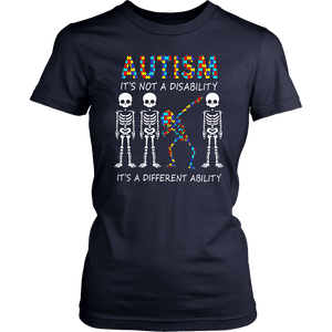 Skeleton Autism It's Not A Disability It's A Different Ability Shirt