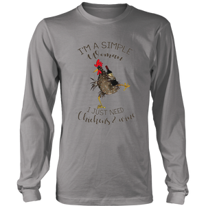I'm A Simple Woman - I Just Need Chickens & Wine T-Shirt Funny Chicken Shirt