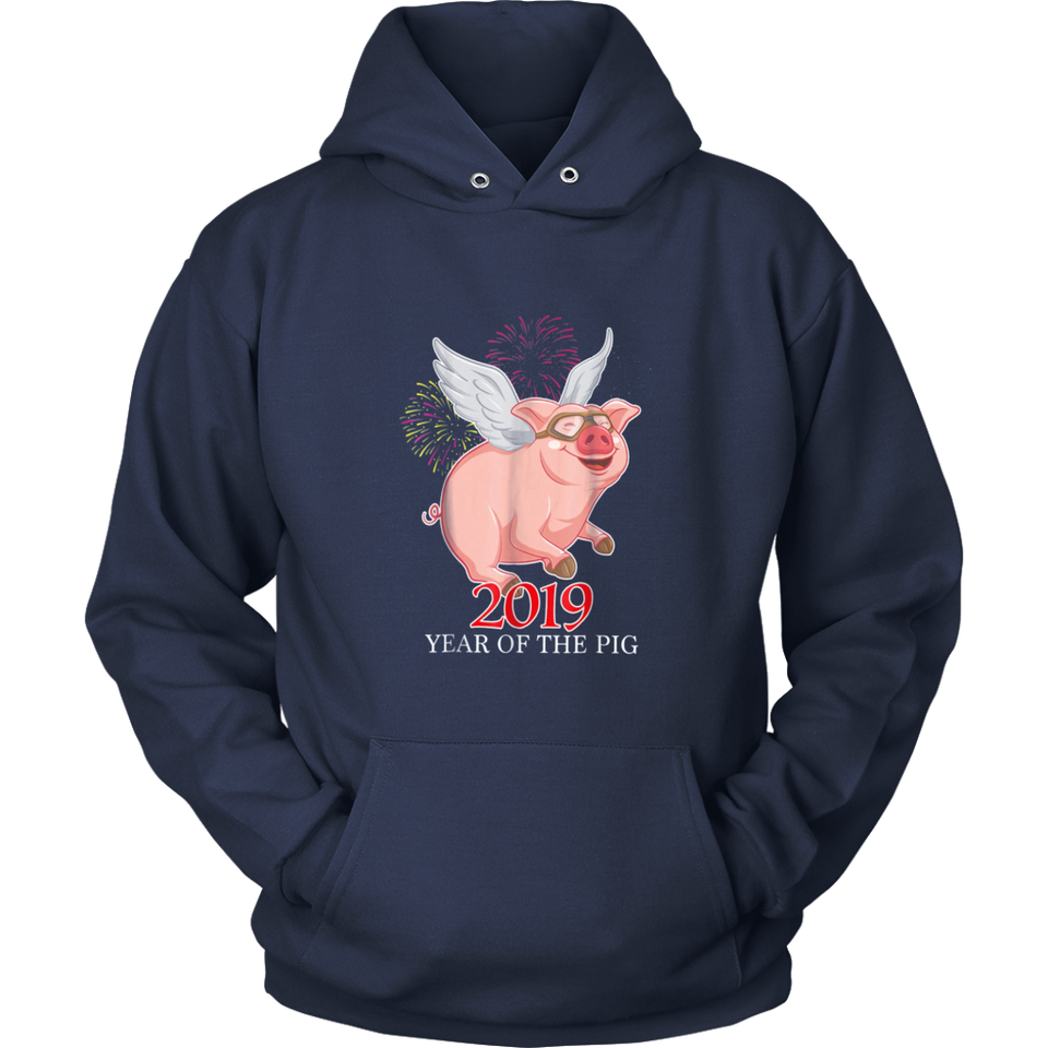 2019 Year of the Pig Flying Happy Piggie Fireworks T Shirt