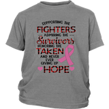 SUPPORTING THE FIGHTERS ADMIRING THE SURVIVORS HONORING THE TAKEN AND NEVER EVER GIVING UP HOPE SHIRT BEAT CANCER