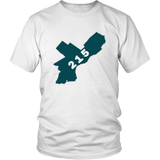 Philadelphia Philly 215 T-Shirt Map Tee Philadelphia Eagles