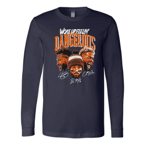 WOKE UP FEELIN'  DANGEROUS SHIRT Jarvis Landry - Baker Mayfield - Odell Beckham Jr - Cleveland Browns