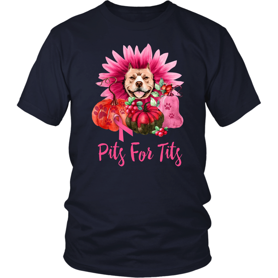 Pumpkin Dog Pits For Tits Breast Cancer Awareness Shirt