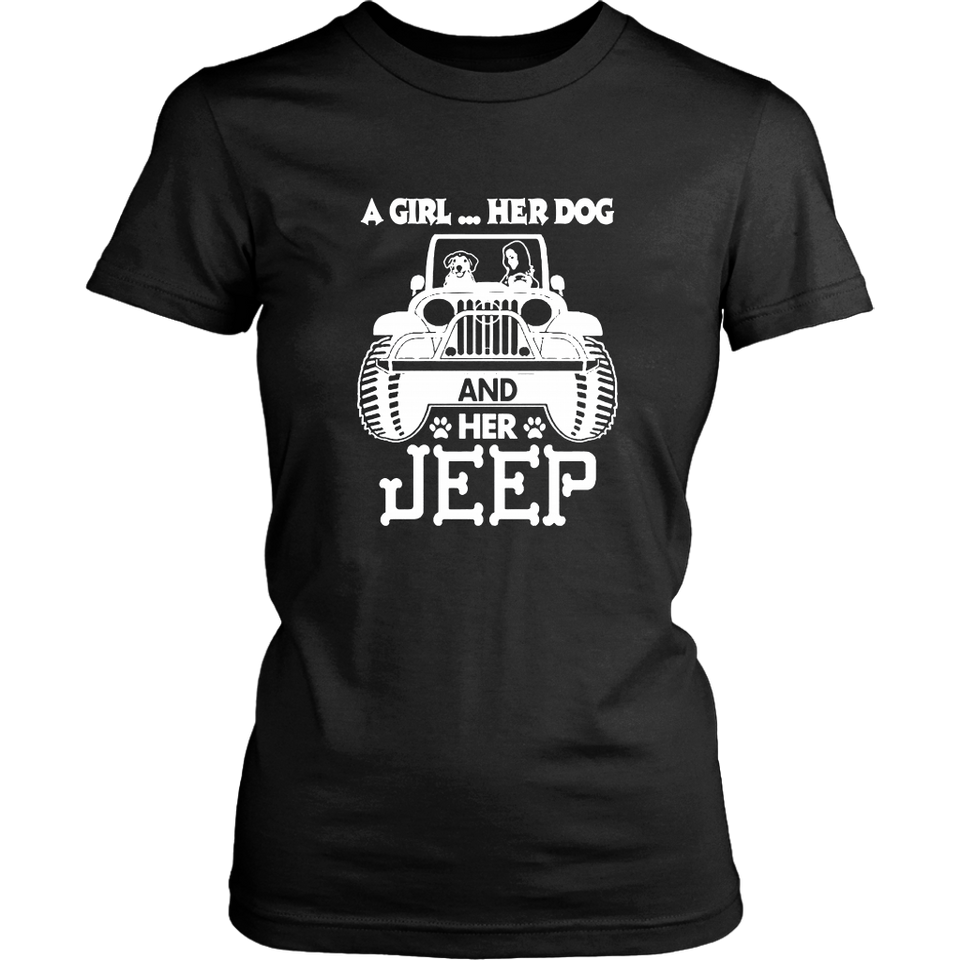 A Girl Her Dog And Her Jeep T-Shirt - Dog Jeep Mom Shirt
