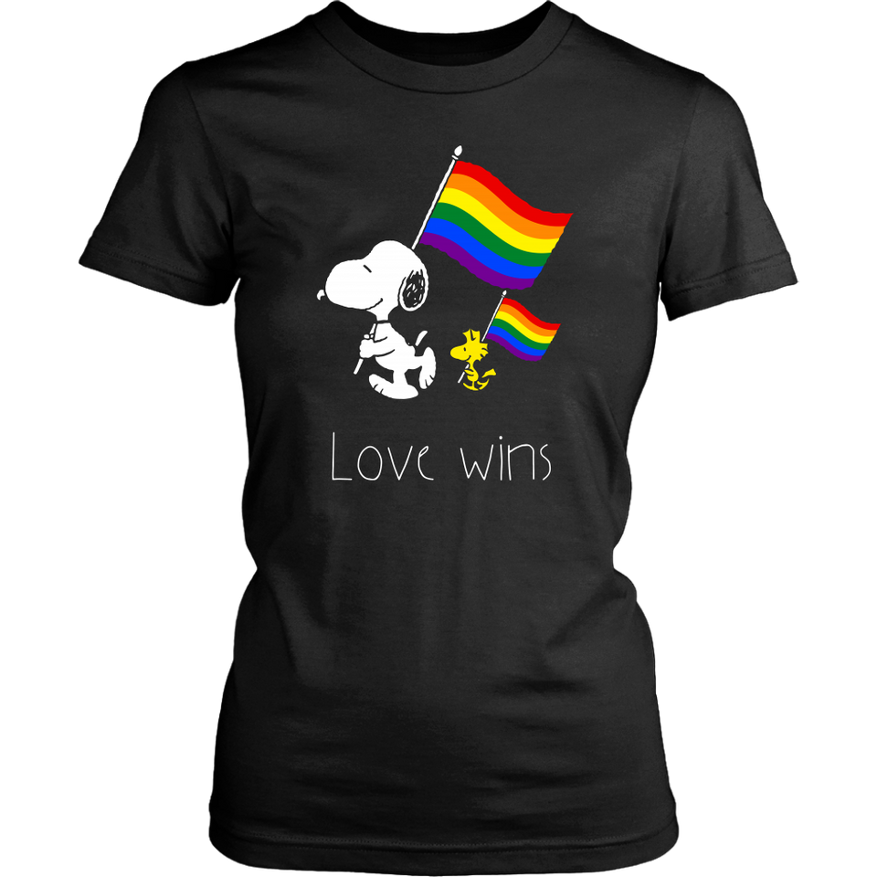 LGBT SNOOPY AND WOODSTOCK LOVE WINS SHIRT SUPPORT LGBT