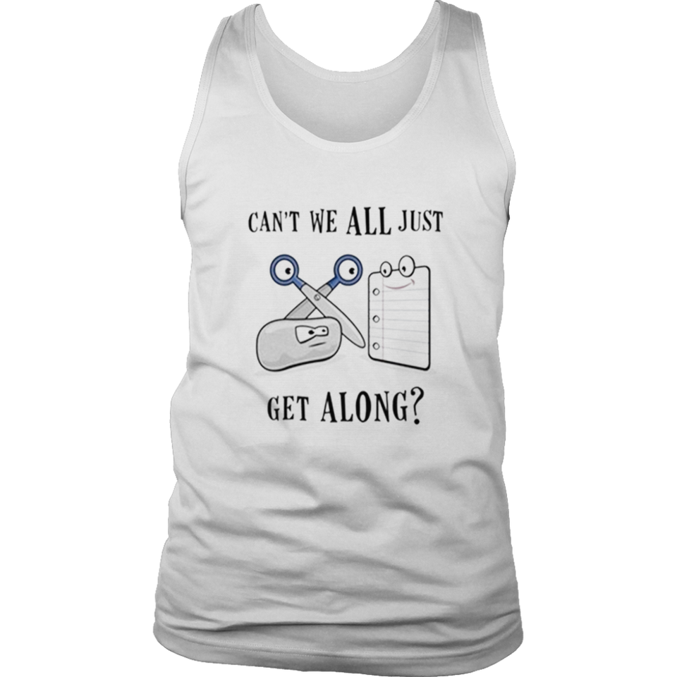 Can't We All Just Get Along T Shirt Rock Paper Scissors Gift
