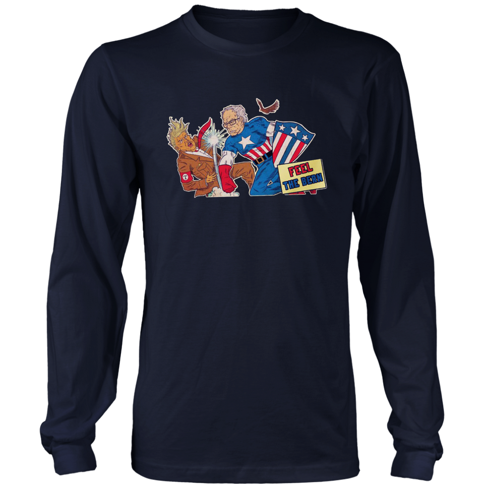 Bernie Sanders Captain America Punch Donald Trump Feel The Bern Shirt