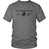 I'm A Simple Woman Wolf Funny T-Shirt Gift Mother Day - Harry Potter - Avengers - Game Of Thrones