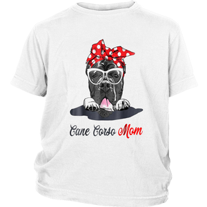 Cane corso mom wearing glass with the stylish leopard print