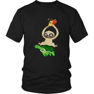 Sloth Turtle Snail Piggyback Running T-Shirt Funny Racing