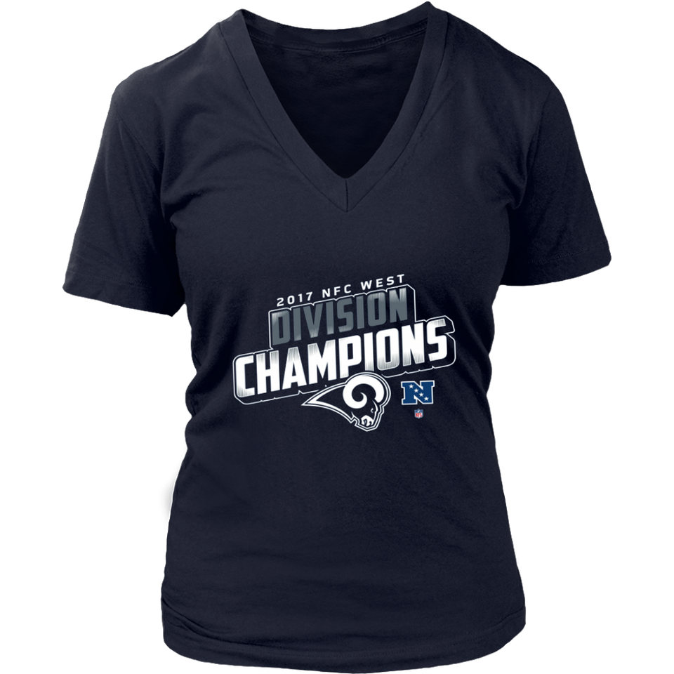 Men's Los Angeles Rams NFL Pro Line by Fanatics Branded Navy 2018 NFC West Division Champions Fair Catch T-Shirt