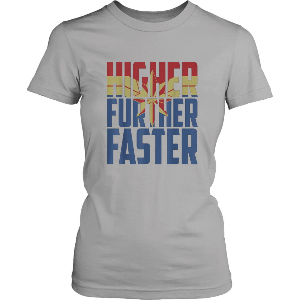 3a5e52eafee Captain Marvel Movie Higher Further Faster Graphic T-Shirt – Tee Cream