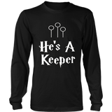 Valentine's Day Couples Love T-Shirt - He's A Keeper Tee
