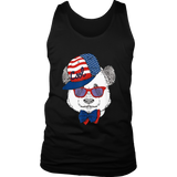 Men's Unisex T-Shirt American Flag Cap Sunglasses Cool Bear
