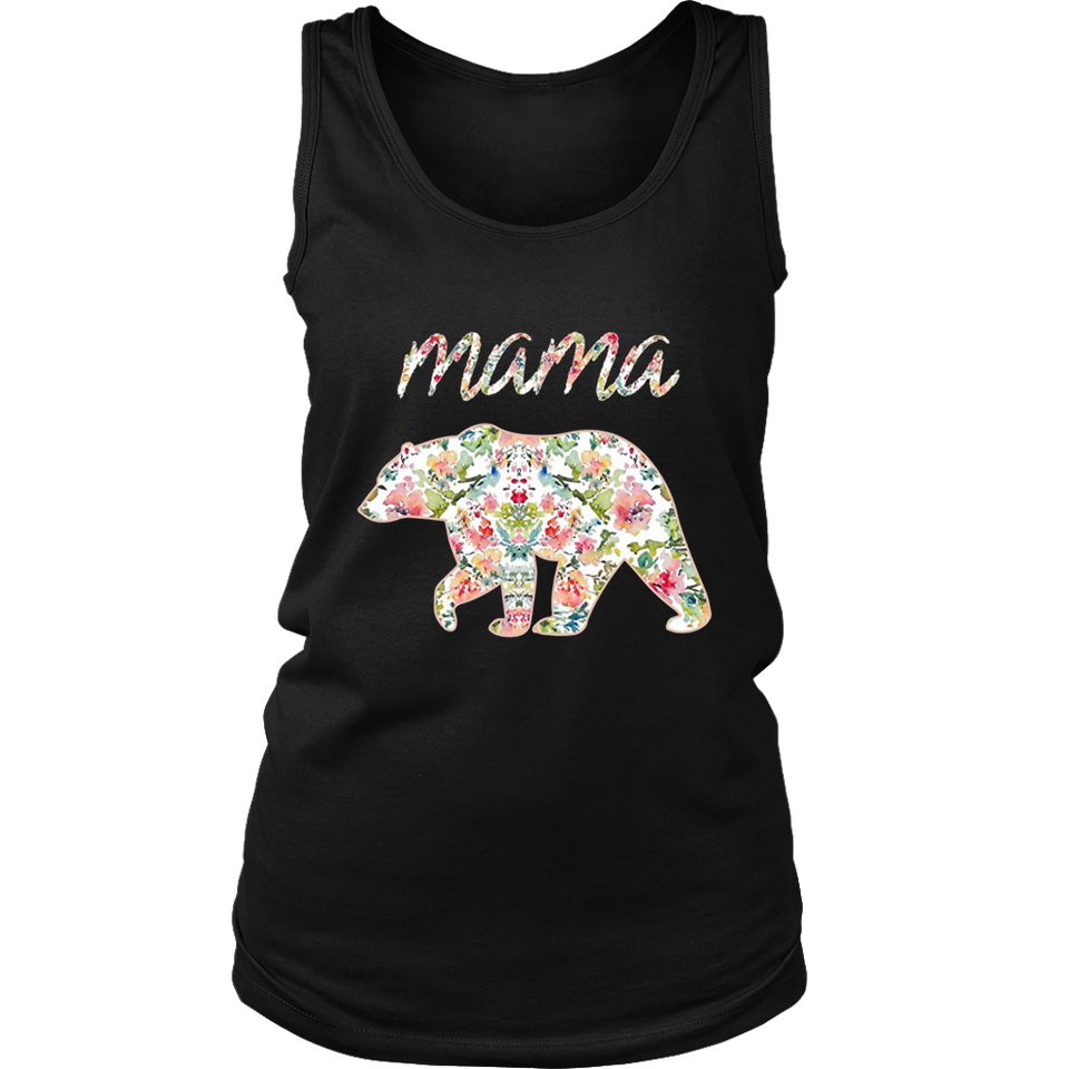 Mama Bear Floral Tee - Mom Graphic T-Shirt - Matching Family
