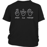 Peace Love Massage T-Shirt, Funny Quote Gift For Therapist