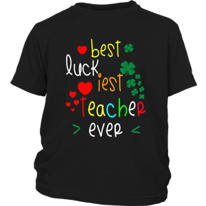 luckiest teacher ever t-shirt funny shamrocks st patrick day