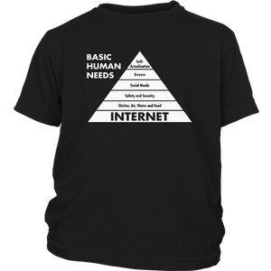 Basic Human Needs Internet Computer Sarcastic Humor Mens Very Funny T-Shirt