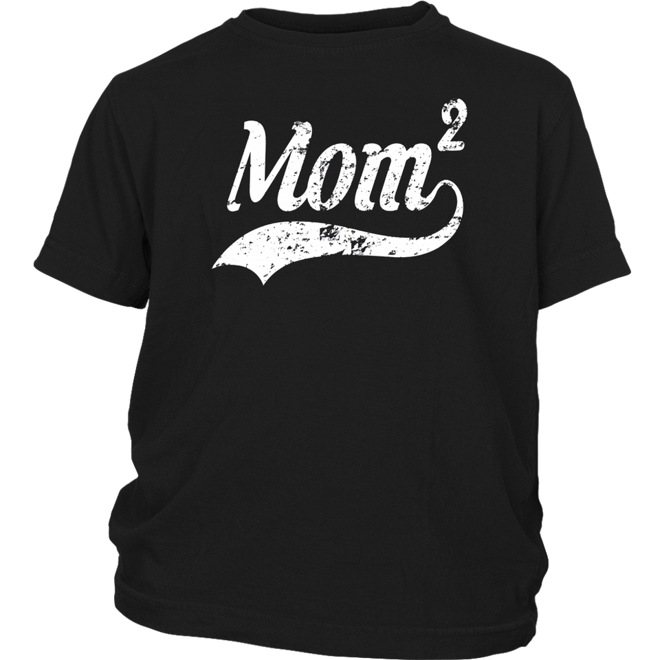 Womens Vintage Mom of 2 t-Shirt love Mother's Day Funny Gift