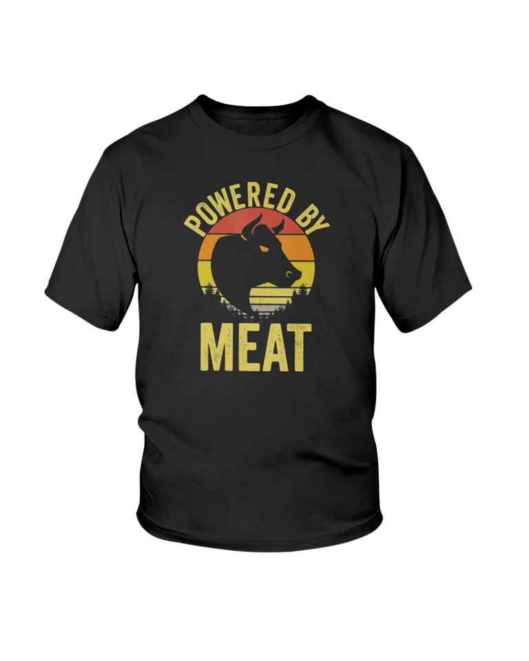Vintage Powered By Meat Carnivore Meat Eater T-Shirt