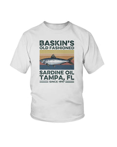 FISH BASKIN'S OLD FASHIONED SARDINE OIL TAMPA FL SINCE 1997 VINTAGE TEE SHIRT
