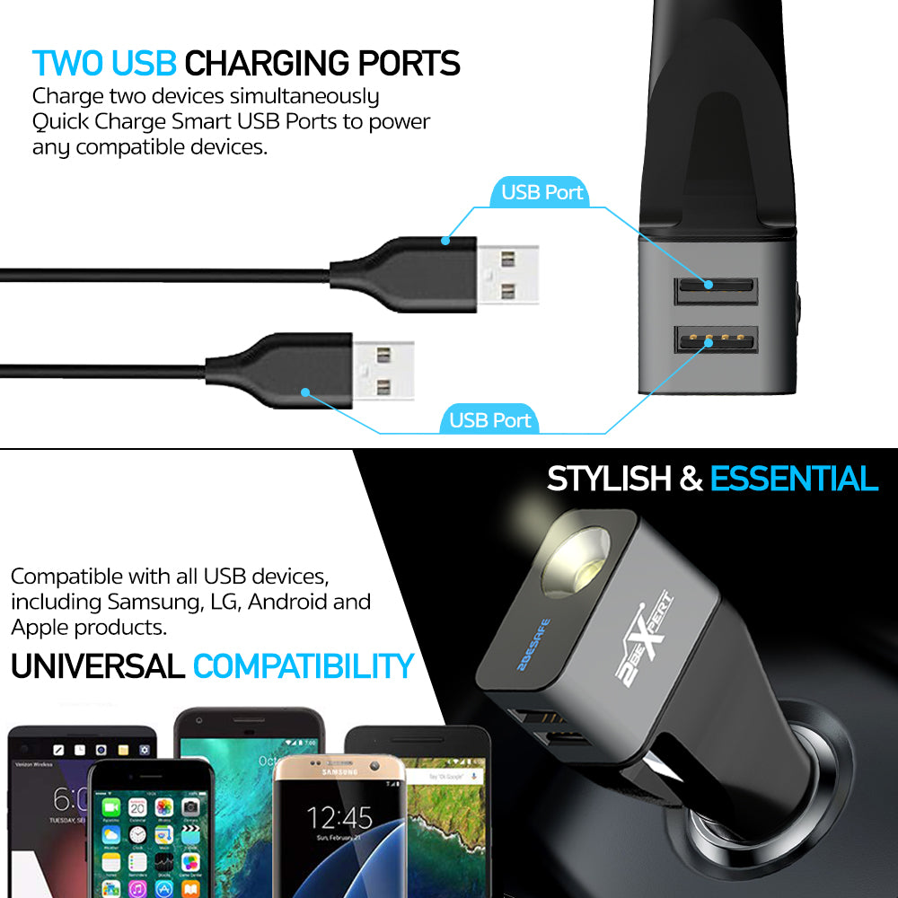 2BEsafe car charger with dual charging ports and power bank included