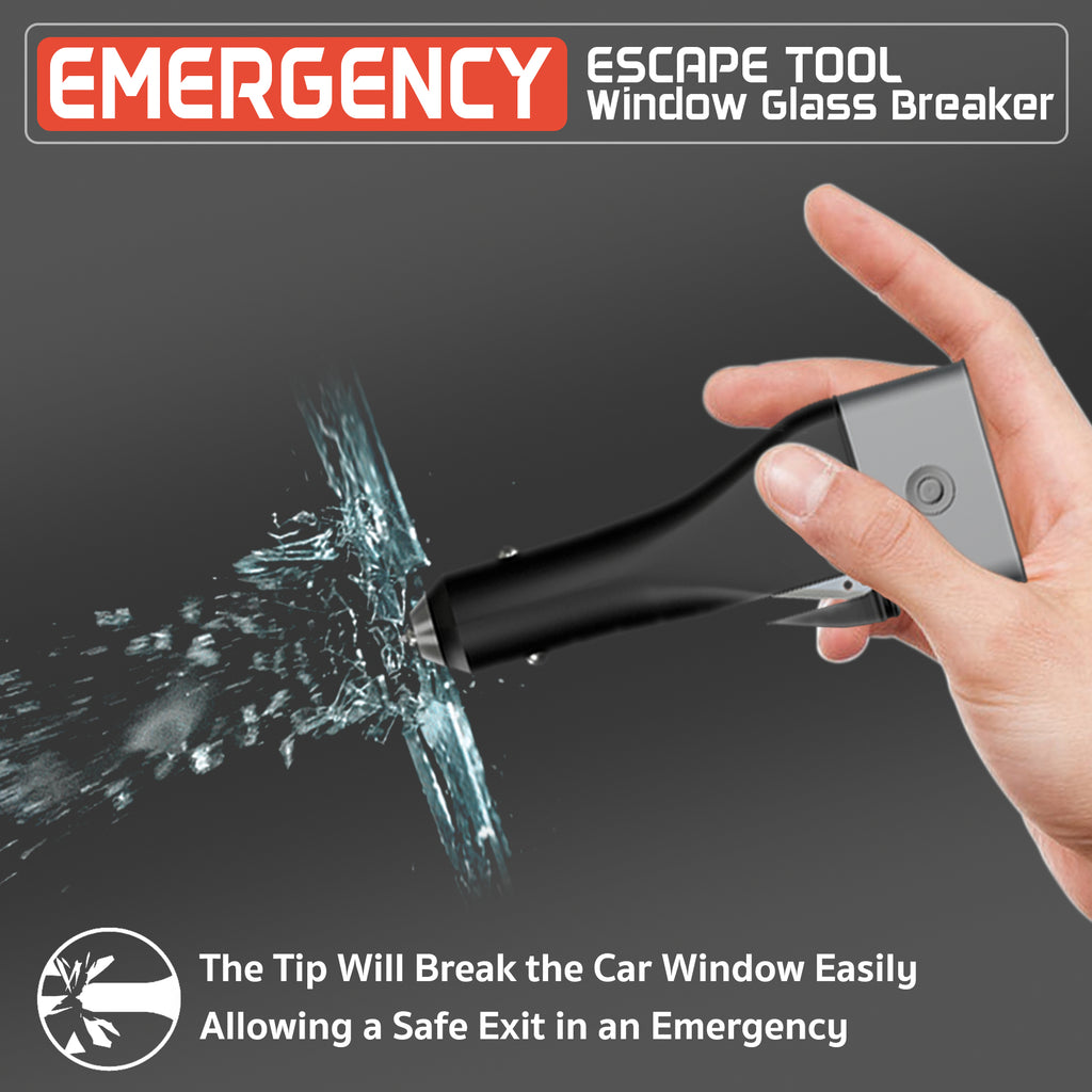 emergency escape tool with patented tip that will easily break car windows to allow escape in case of emergency