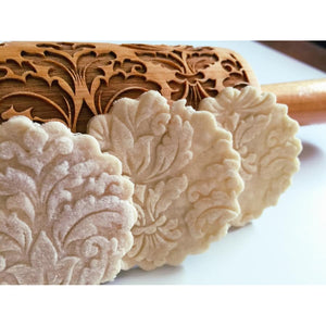 Damask Wooden Embossing Rolling Pin