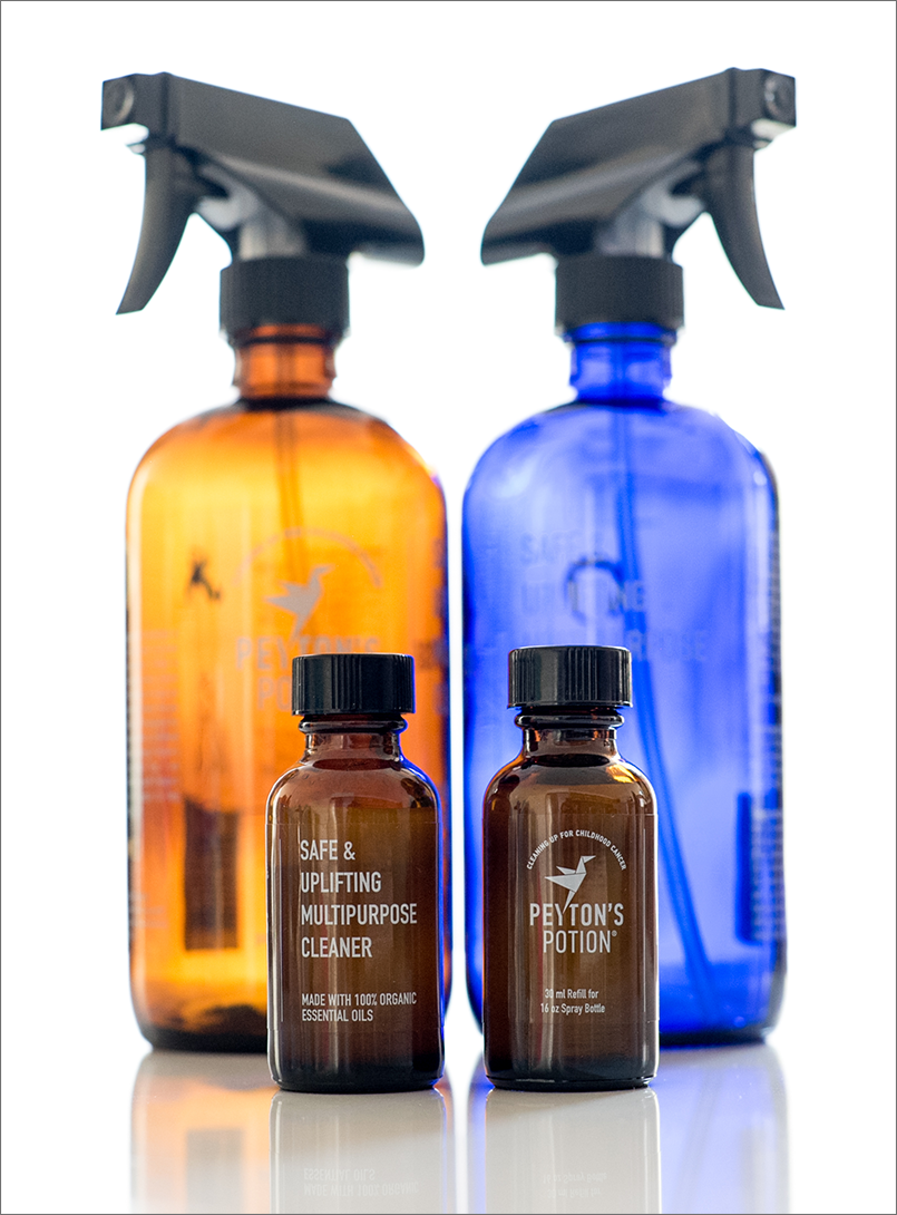 Peyton's Potion Amber and Cobalt glass bottles with refills