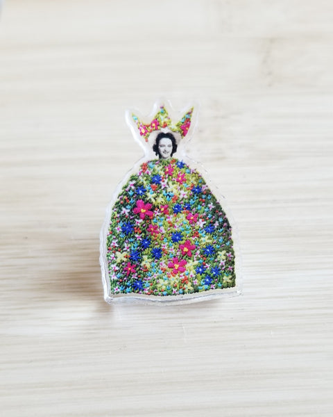 """May Queen"" - acrylic pin / button"