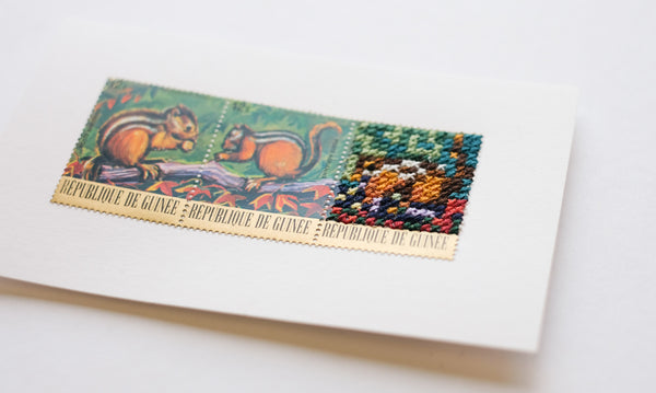 Stitched stamps: Squirrels de Guinee