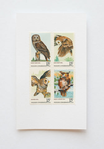 Stitched stamps: Owls
