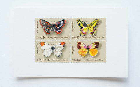 Stitched stamps: Butterflies