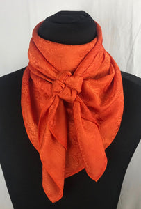 "44"" Custom Dyed Orange Paisley Jacquard"