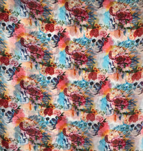"Load image into Gallery viewer, 44"" Floral Skull Chiffon Print"