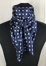 "Load image into Gallery viewer, 44"" Navy Dot Silk Wildrag"