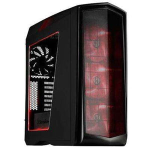 SilverStone PM01BR-W Primera ATX Black Tower Case with Window+Red LED