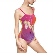 Load image into Gallery viewer, Whimsical singing aerialist hoop art spaghetti strap Swimsuit/leotard